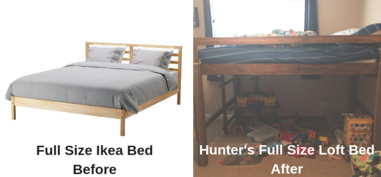 Loft Bed for Kids Before and After Pics